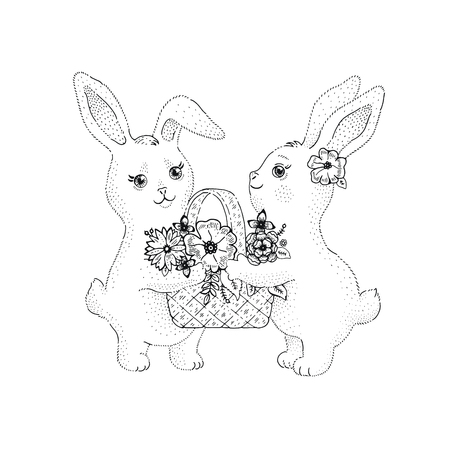 Spring bunny rabbits with flowers blossom in basket. Cute baby couple, lovely cartoon animals. For Mother day, Valentine day, birthday. Hand drawn ink line vectir illustration isolated on white