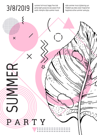 Summer party poster in geometric memphis style. Cool trendy flyer with type quote. Tropical elements for travel banner, music cover, fashion print. Palm leaf vector illustration on white background