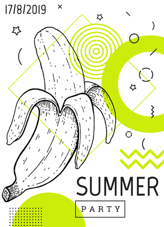 Summer party poster in geometric memphis style. Cool trendy flyer with type quote. Tropical element for travel banner, music cover, fashion print. Banana fruit vector illustration on white background