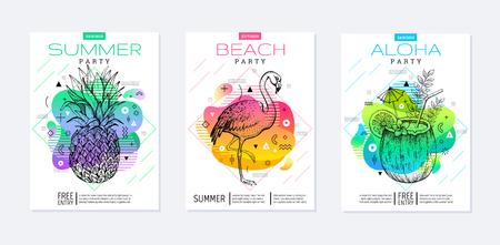 Rainbow geometric style. Disco light fluid art. Memphis prism summer poster set. Amoeba trendy background. Realistic tropic pineapple, flamingo, coconut drink for t-shirt print, music banner on white