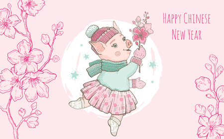 Chinese new year 2019. Pig with sakura flower greeting card. Cute cartoon kawaii character. Hand drawn dancing piggy. Doodle spring oriental vector illustration. Chinese, japanese traditional holiday