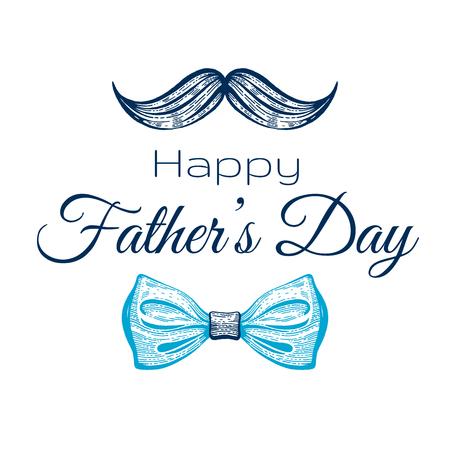 Glückliche Vatertagskarte. Süßes Poster mit Schnurrbart-Krawatte für den besten Papa. Coole Skizzenzeichnung mit eleganter Typografie. Blaue Schmetterlings-Krawatte mit Text. Isoliert auf weißem Hintergrund