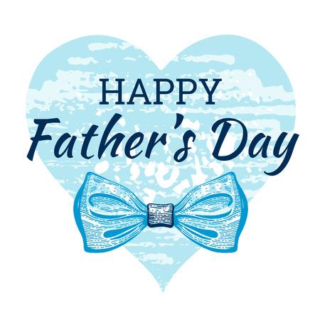Carte de fête des pères heureux. Affiche mignonne avec cravate pour le meilleur papa sur le motif de coeur grunge. Dessin d'esquisse cool avec une typographie élégante. Cravate papillon bleu avec texte pour père. Isolé sur fond blanc