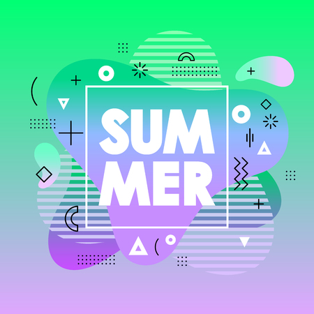 Abstract summer card with green gradient background, shape, geometric element in fluid liquid memphis style. Unique design poster for print,flyer,banner,show invitation,music cover, special offer