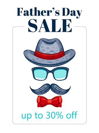 Happy Father s day sale offer. Elegant poster with gentleman retro face with mustaches, bowler fedora hat, glasses, bow. Sketch drawing with typography text for Dad sale. Isolated on white background