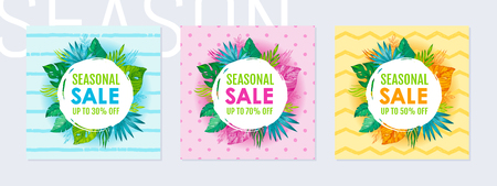 Summer sale poster set. Tropic exotic leaves, monstera, palm on polka dot, zig zag, striped pattern. Special offer flyer for cosmetic, health care ad, girl t-shirt print. Hand drawn circle background Illustration