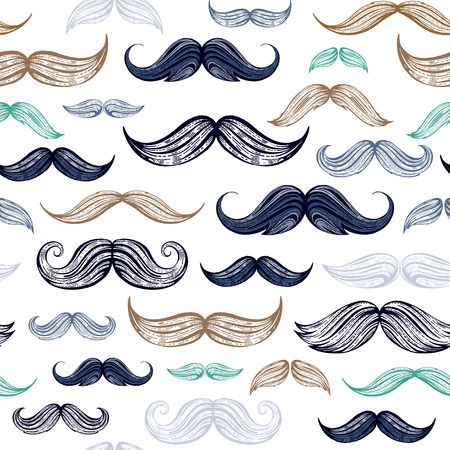 Vintage moustaches seamless hand drawn pattern. Retro classic french, british face style texture background. Line sketch, hipster element. Wallpaper, wrapping paper, fabric print vector illustration Illustration