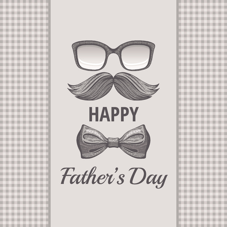 Happy Father s day vintage card. Cute poster with mustache, retro tie bow for best Dad. Cool hand drawn sketch with elegant typography. Grey butterfly isolated on vector beige sepia plaid background