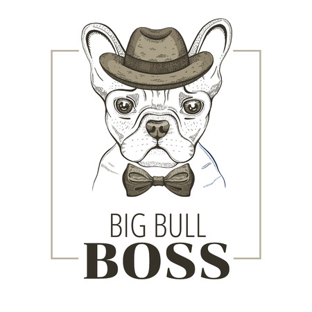 French bulldog boss dog. T-shirt print design. Cool animal vector, doodle hand drawn style for tee, child, male apparel. Puppy character poster, hipster element. Fashion illustration isolated on white Illustration