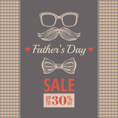 Happy Father s day sale offer. Elegant poster with gentleman retro face, mustache, glasses, butterfly bow. Sketch drawing with typography text for Dad sale. Isolated on beige sepia plaid background