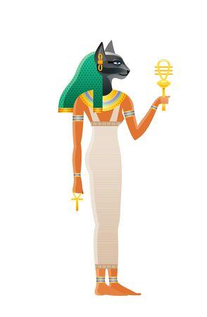 Alte ägyptische Göttin Bastet. Gottheit mit Katzenkopf. 3D-Cartoon-Vektor-Illustration. Alte Wandmalerei-Kunstikone aus Ägypten. Isolierter weißer Hintergrund. Bastet Gott der Kosmetik, Liebe, Freude, Sex, Schwangerschaft