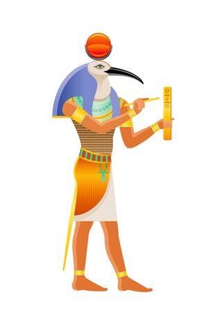 Dieu égyptien antique Thot. Divinité à tête d'ibis. Dieu de la sagesse, de l'écriture, des hiéroglyphes, de la science, de la magie. Illustration vectorielle de dessin animé 3D. Ancienne icône d'art de peinture murale d'Egypte. Isolé sur fond blanc Vecteurs