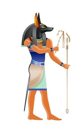 Ancient Egyptian god Anubis. Deity with canine head. God of death, mummification embalming, afterlife. 3d cartoon vector illustration. Old mural paint art icon from Egypt. Isolated on white background Иллюстрация