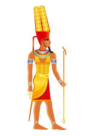 Starożytny egipski bóg Amon, główne egipskie bóstwo słońca, w koronie z Shuti z dekoracją z piór. 3D ilustracja kreskówka wektor. Stare ikony sztuki malowania ściennego. Amon, bóg Amon Ra na białym tle Ilustracje wektorowe