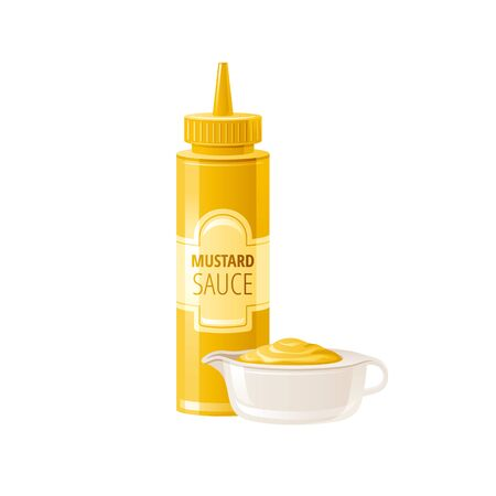 Mustard sauce. Hot american mustard sauce with bowl cup. Food icons with text logo label packaging, mock up. Plastic squeeze bottle, 3d realistic vector illustration isolated on white background Ilustração