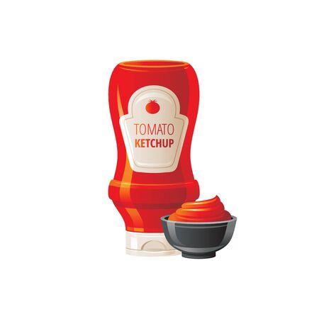 Tomato ketchup sauce. Hot sauce bottle with bowl. Ilustração