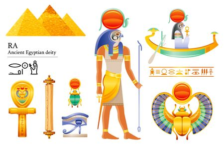 Ancient Egyptian Sun god Ra icon set. Falcon sun deity, solar disk, barque, scarab, papyrus scroll, ankh, eye. 3d cartoon vector illustration. Old mural art from Egypt. Isolated on white background Banque d'images - 131026027