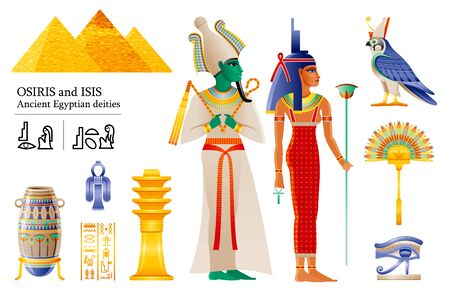 Der alte ägyptische Gott Pharao Osiris Göttin Isis Icon Set. Fächer, Vase, Djed-Säule, Knoten, Gottheit Horus Falke, Wadjet. 3D-Cartoon-Vektor-Illustration. Alte Kunst aus Ägypten. Isoliert auf weißem Hintergrund