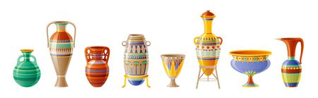 Egyptian crockery icon set. Vase, pot, amphora, jug. Old geometric floral ornament decoration from ancient Egypt clay art craft. Cartoon 3d realistic, vector illustration isolated on white background