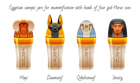 Ancient Egyptian canopic jars used for mummification to preserve viscera. Afterlife symbol icon set. Four sons of Horus heads design. 3d vector illustration, old Egypt art. Isolated white background