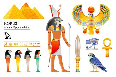 Ancient Egyptian god Horus icon set. Falcon deity, pyramid, dagger, bird, ankh, four sons of Horus, canopic jars, hieroglyph. 3d cartoon vector illustration. Old art craft. Isolated white background
