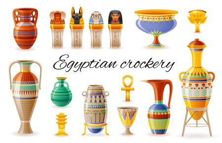 Egyptian crockery icon set. Vase, pot, amphora, jug, canopic jars. Old geometric floral ornament from ancient Egypt art craft. Cartoon 3d realistic, vector illustration isolated on white background Иллюстрация
