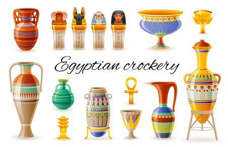 Jeu d'icônes de vaisselle égyptienne. Vase, pot, amphore, cruche, jarres canopes. Ancien ornement floral géométrique de l'artisanat d'art de l'Egypte ancienne. Dessin animé 3d réaliste, illustration vectorielle isolée sur fond blanc