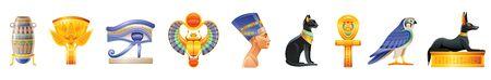 Ancient Egypt icon set. 3d God, pharaoh sign. Cartoon vase, lotus, wadjet eye, scarab, Nefertiti, Cleopatra queen, Bastet cat, ankh coptic cross, Horus Ra falcon, Anubis dog tomb. Vector Egypt old art