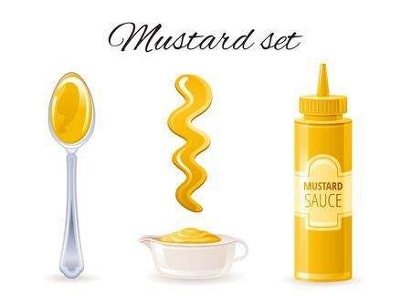 Mustard sauce. Hot american mustard sauce bottle, bowl, spoon, splash.