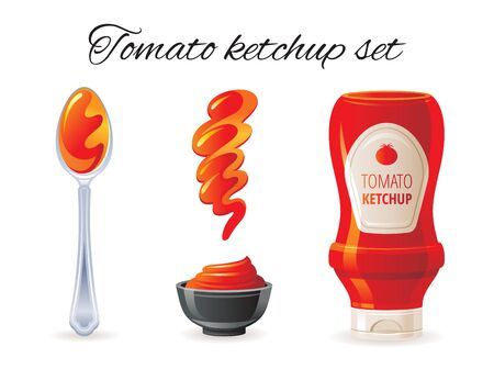 Tomato ketchup sauce. Hot sauce bottle, bowl, spoon, splash.