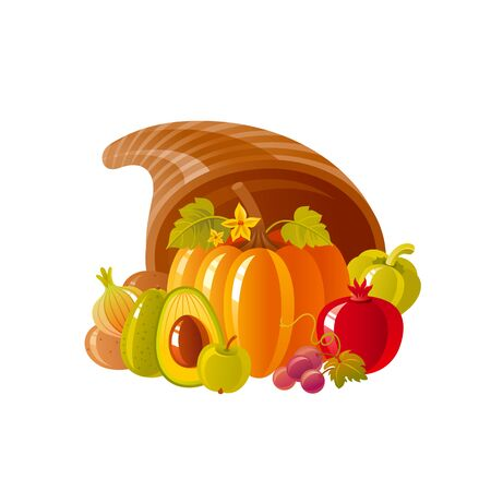 Cornucopia horn of plenty. Fruit vegetable basket. Autumn fall icon for harvest festival or thanksgiving day. 3d Cartoon autumn vector illustration with vegetable Fall Isolated on white background