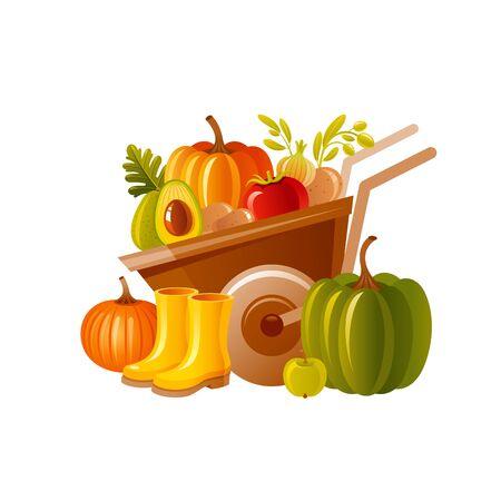 Farm wheelbarrow with harvest. Fruit, vegetable, rubber boots. Autumn fall pumpkin icon for harvest festival, thanksgiving day. Illusztráció