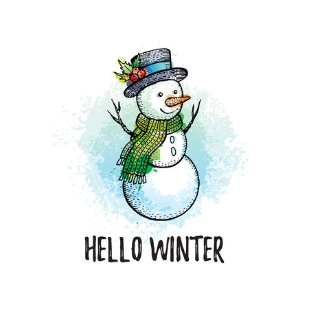 Hello Winter poster. Cute snowman in hand drawn doodle sketched style. Holiday concept.