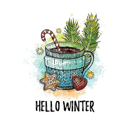 Hello Winter hand drawn doodle poster. Hot tea coffee cup. Cute sketch holiday concept.