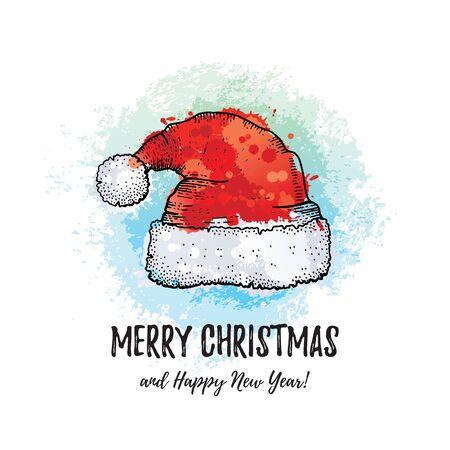 Merry Christmas greeting card. Santa Claus hat, hand drawn doodle sketch style. Cute Santa cap, winter holiday icon. Illusztráció