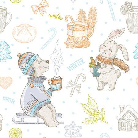 Christmas cute animals seamless pattern. Doodle bear, rabbit with winter drink cup. Hand drawn sketch background. Illusztráció