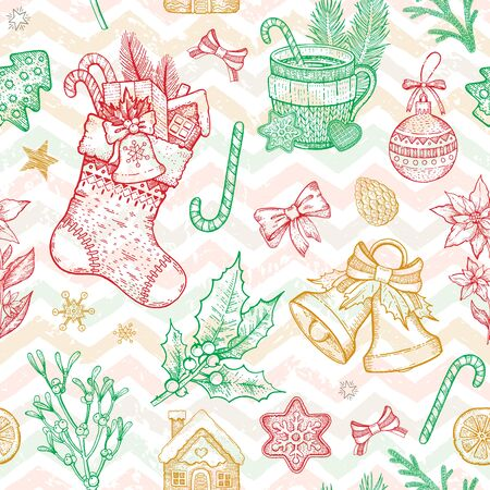 Christmas object seamless pattern. Hand drawn sketch background. Xmas plant symbol. Holiday Holly, mistletoe, sock, stocking, poinsettia, ginger cookie, candy, fir tree. Isolated vector illustration Illustration