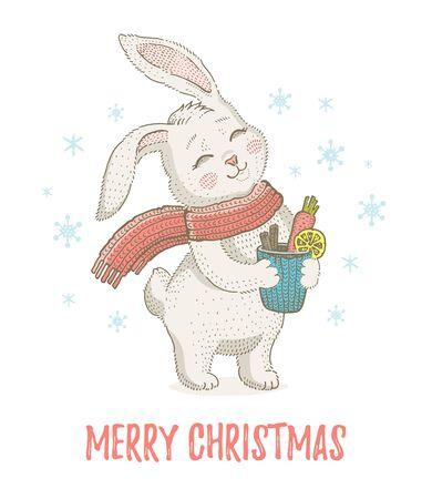 Cute Christmas rabbit in scarf. Winter animal for poster, greeting card, girl t-shirt print design. Illusztráció