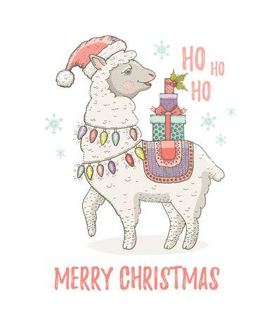 Cute Christmas alpaca llama in Santa hat. Winter lama animal for poster, greeting card, t-shirt print design. Illusztráció