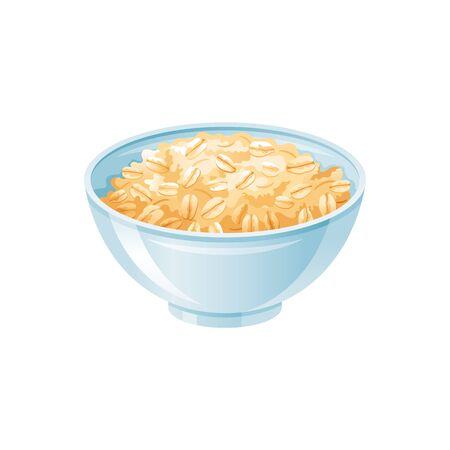 Oats bowl. Oatmeal breakfast cup, oat grain porridge. 3d realistic icon. Cartoon style muesli, flake for healthy sweet breakfast. Cool food design. Vector illustration isolated on white background