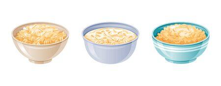 Bol d'avoine. Tasse de petit-déjeuner à l'avoine, bouillie de grains d'avoine. icône réaliste 3D. Muesli de style dessin animé, flocon pour un petit-déjeuner sucré sain. Conception de nourriture fraîche. Illustration vectorielle isolée sur fond blanc