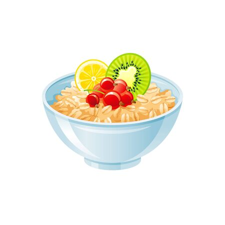 Oats bowl. Sweet oatmeal with berry, fruit. Healthy breakfast cup, oat meal porridge with kiwi, red currant. 3d icon. Cartoon muesli, flake food. Vector design illustration isolated white background