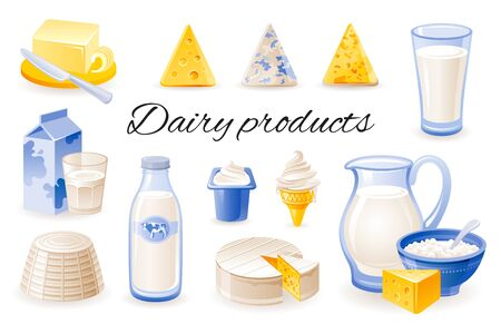 Milk dairy product icon set with cheese cheddar, brie, ricotta, yoghurt, butter, jar. Realistic 3d color glossy vector illustrations isolated on white background. Organic natural food design concept Stock Illustratie