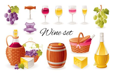 Wine making icon set with grapes, red wine bottle, white wine glass, barrel, picnic basket. Realistic 3d color glossy vector illustrations isolated on white background. Winemaking organic food design