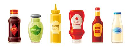 Sauce set. Soy Wasabi Mustard Ketchup Hot Chili Mayonnaise sauces. Food icons with text logo on plastic squeeze packaging, glass bottle. 3d realistic vector illustration isolated on white background