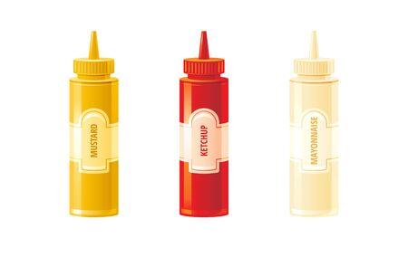 Mustard, ketchup, mayonnaise sauces bottles. Hot sauce set. Ilustração