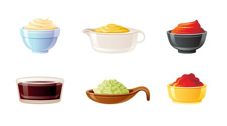 Sauce bowl set. Soy Wasabi Mustard Ketchup Hot Chili Mayonnaise sauces. Condiment food icon. Porcelain, glass, ceramic bowls, pans cups. 3d realistic vector illustration isolated on white background Ilustração