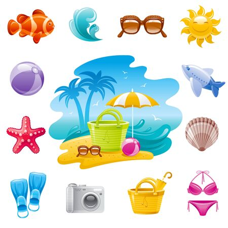 Sea travel icons. Cartoon beach landscape. Trendy vector set. Tropical fish, sunglasses, wave, starfish, airplane, seashell, bag, straw hat. 3d illustration isolated on white background