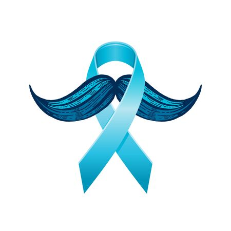 Prostate cancer awareness ribbon with moustaches. Men health symbol. Men cancer prevention in November month. Blue color concept. Engraved, 3d cartoon vector illustration isolated on white background Illustration