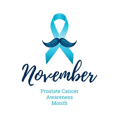 Prostate cancer awareness ribbon with moustaches. Men health symbol. Men cancer prevention in November month. Blue color concept. Engraved, 3d cartoon vector illustration isolated on white background